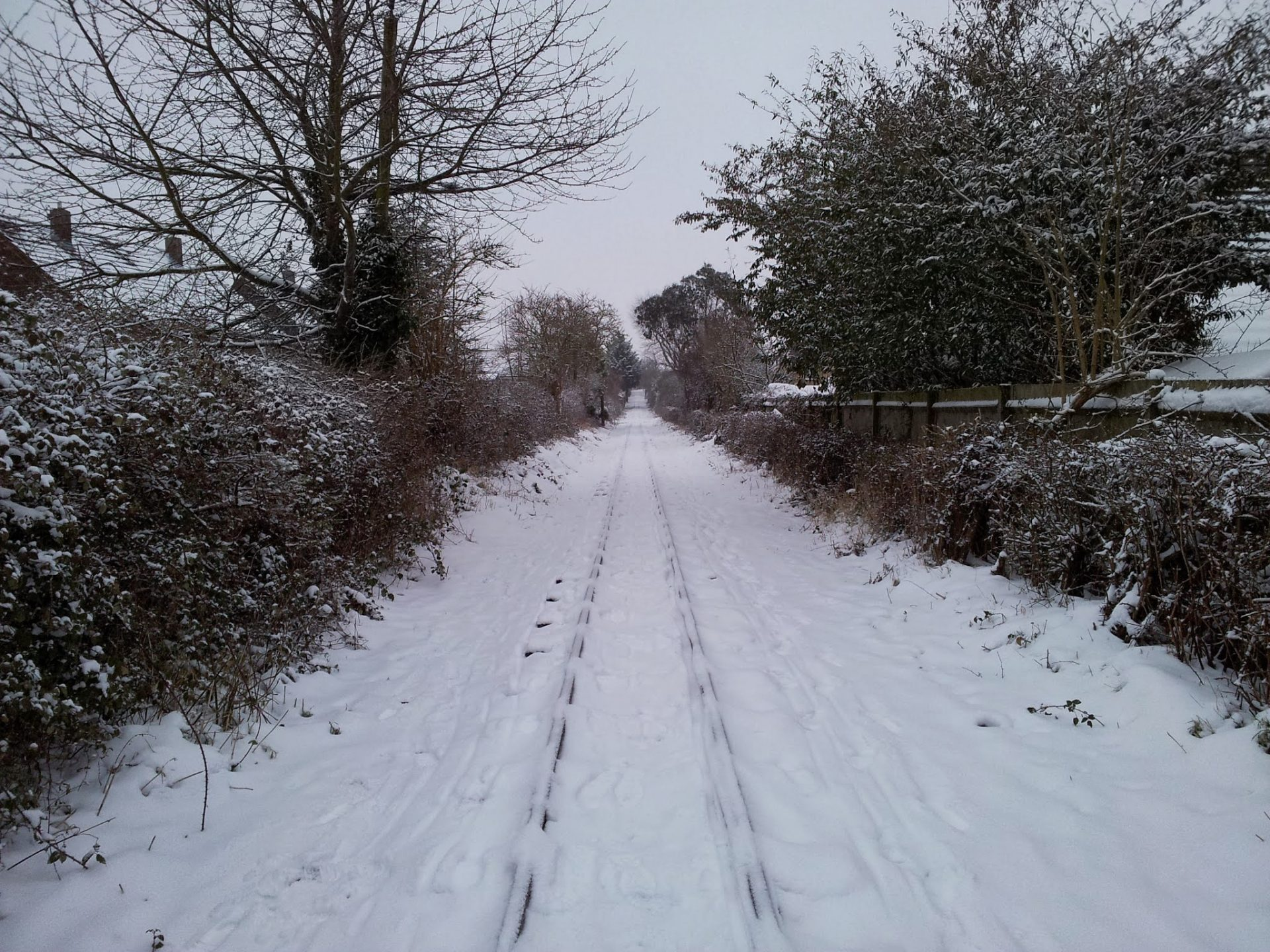 Railway line covered in snow