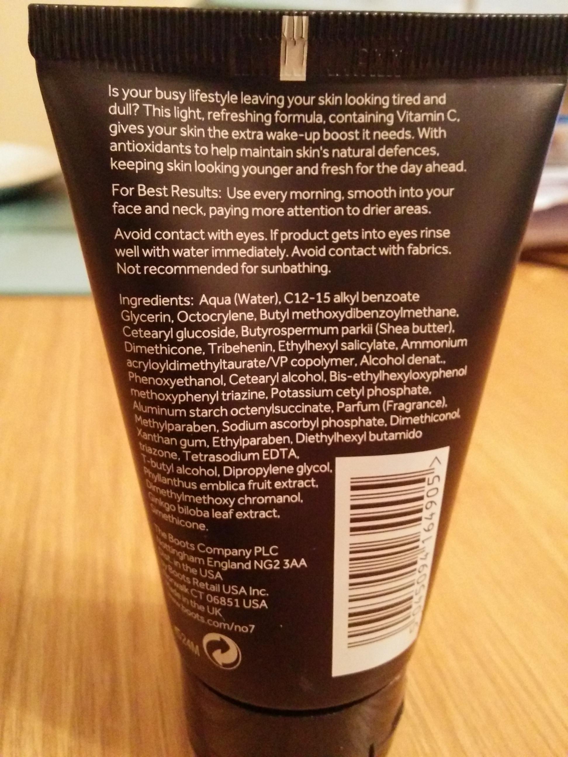 No7 Men Energising Moisturiser Ingredients