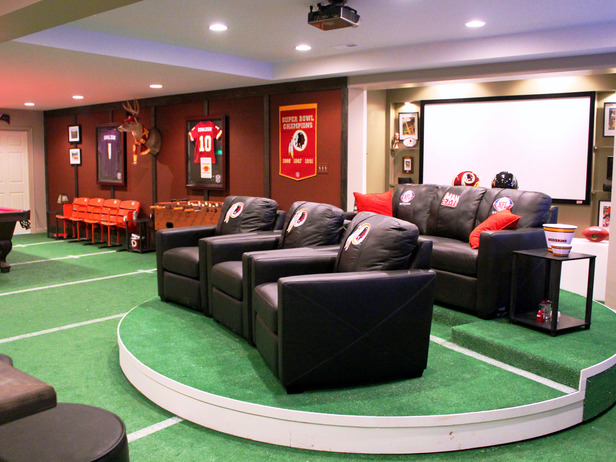 American football themed man cave