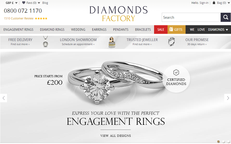 Diamonds Factory Website