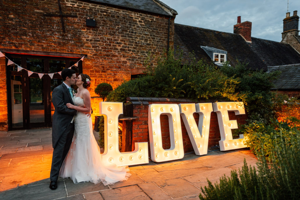 Love sign on our wedding day