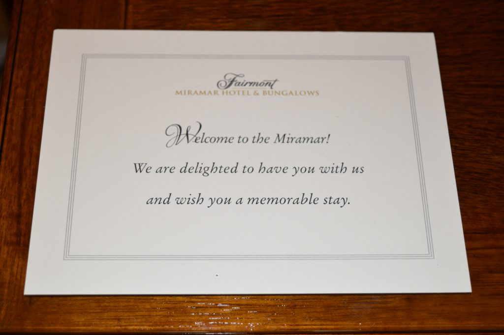 Welcome note at Fairmont Miramar Hotel and Bungalows