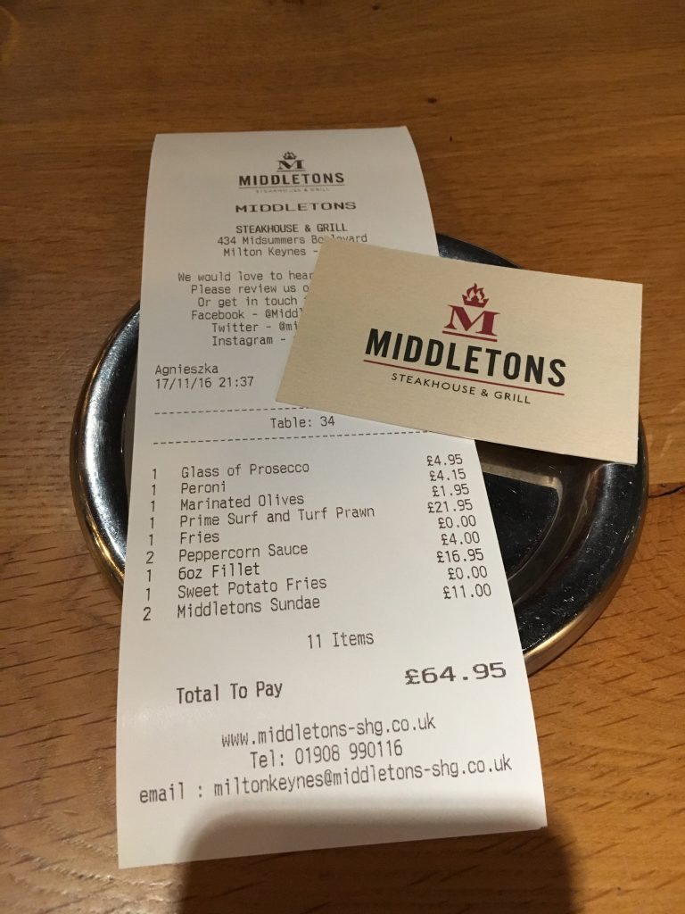The bill, Middletons Steakhouse