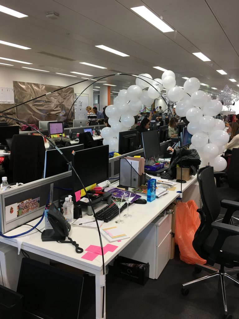 First balloon arch taking shape