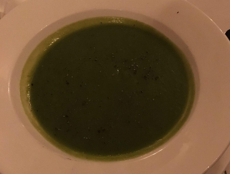 The Oak Room at Ettington Park hotel - pea soup
