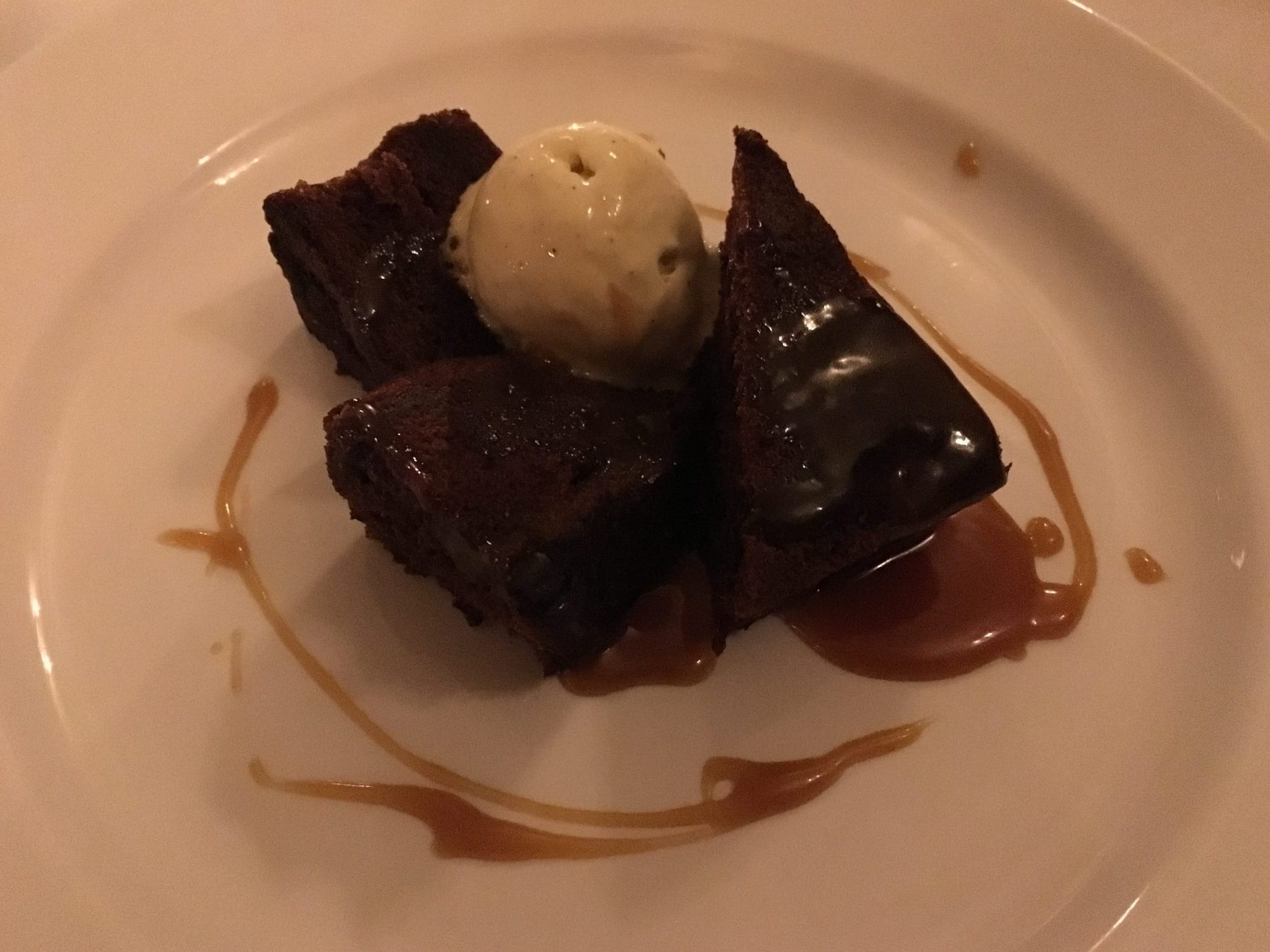 The Oak Room at Ettington Park hotel - chocolate brownie