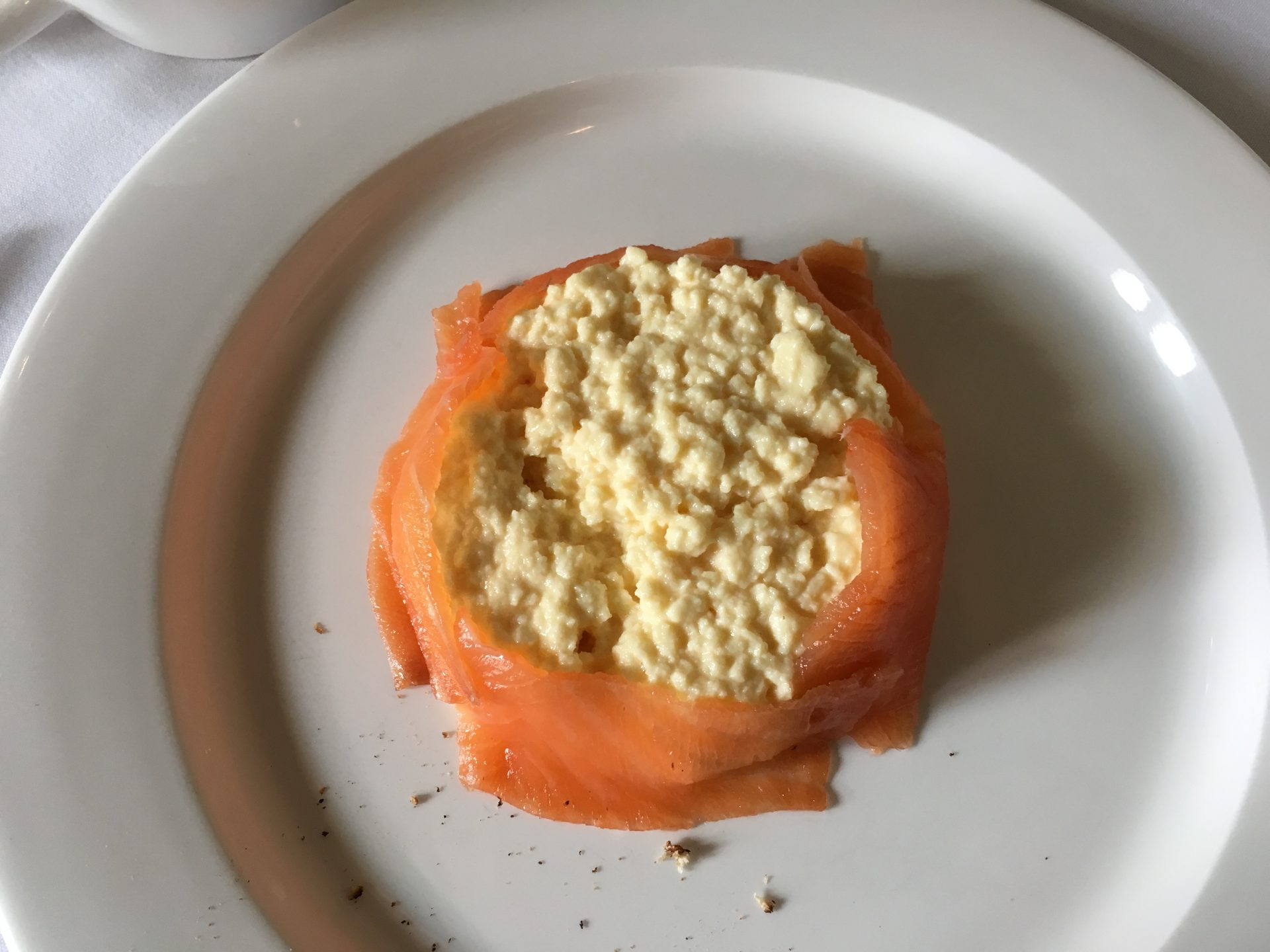 Ettington Park hotel breakfast - smoked salmon and scrambled egg