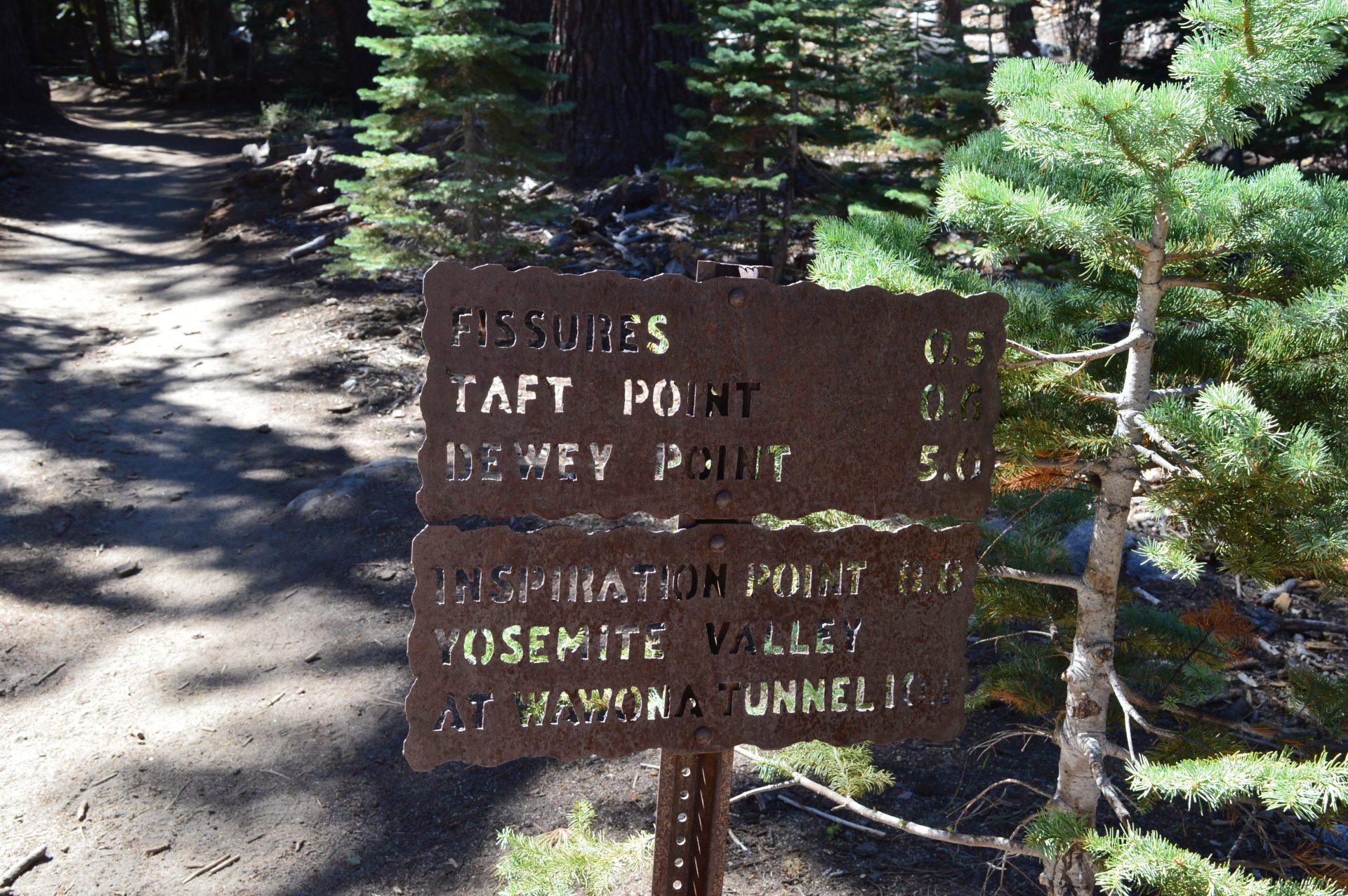 Taft Point Trail Signage