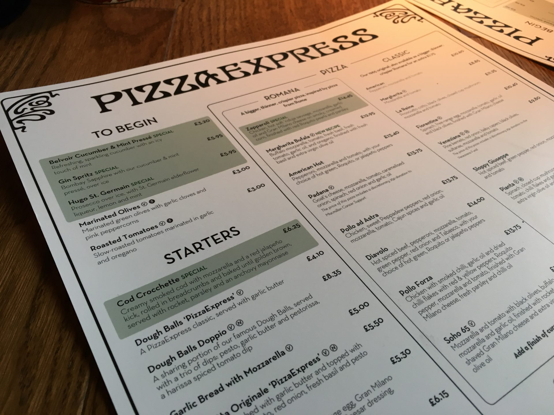 Pizza Express Spring menu