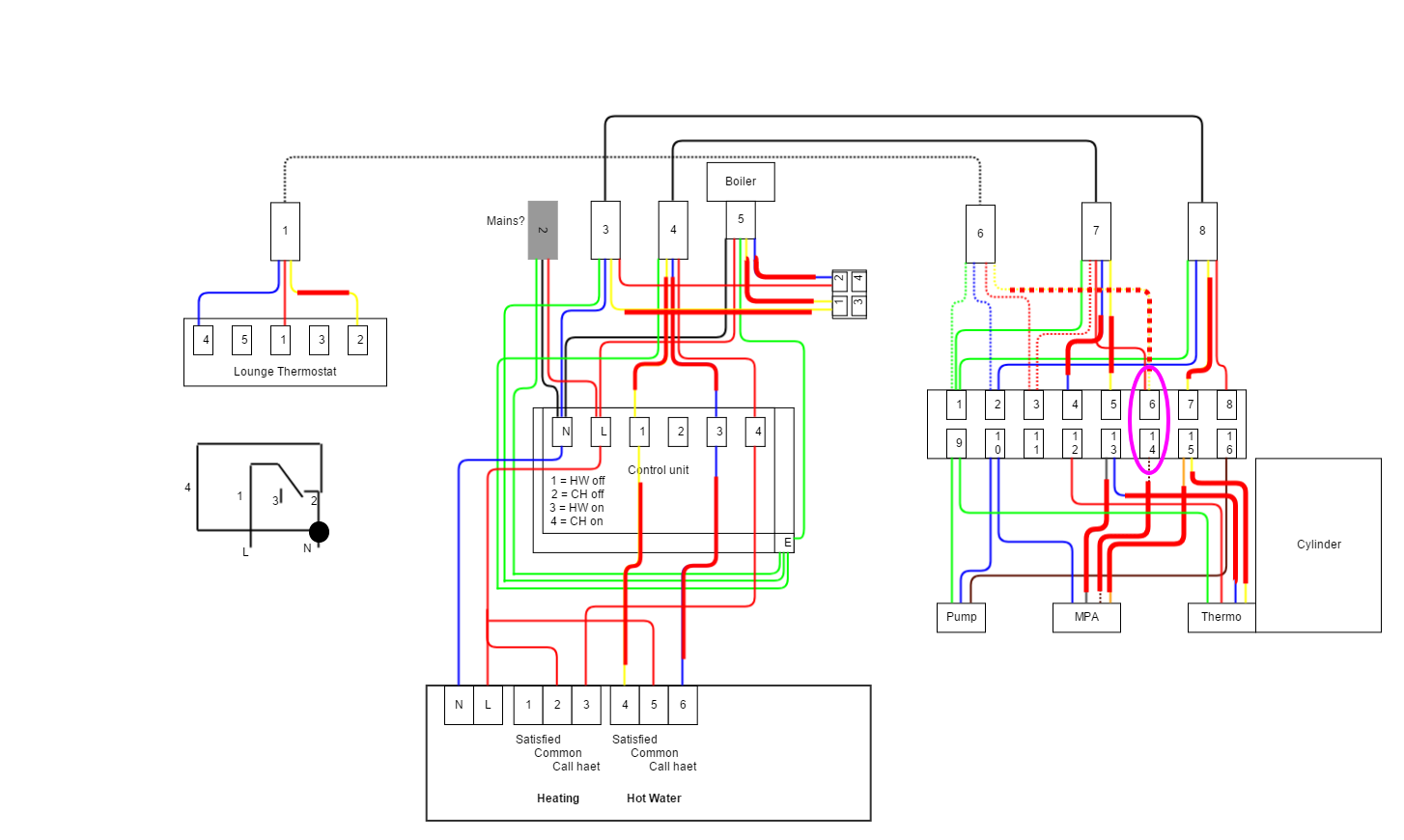 Y-Plan central heating system wiring